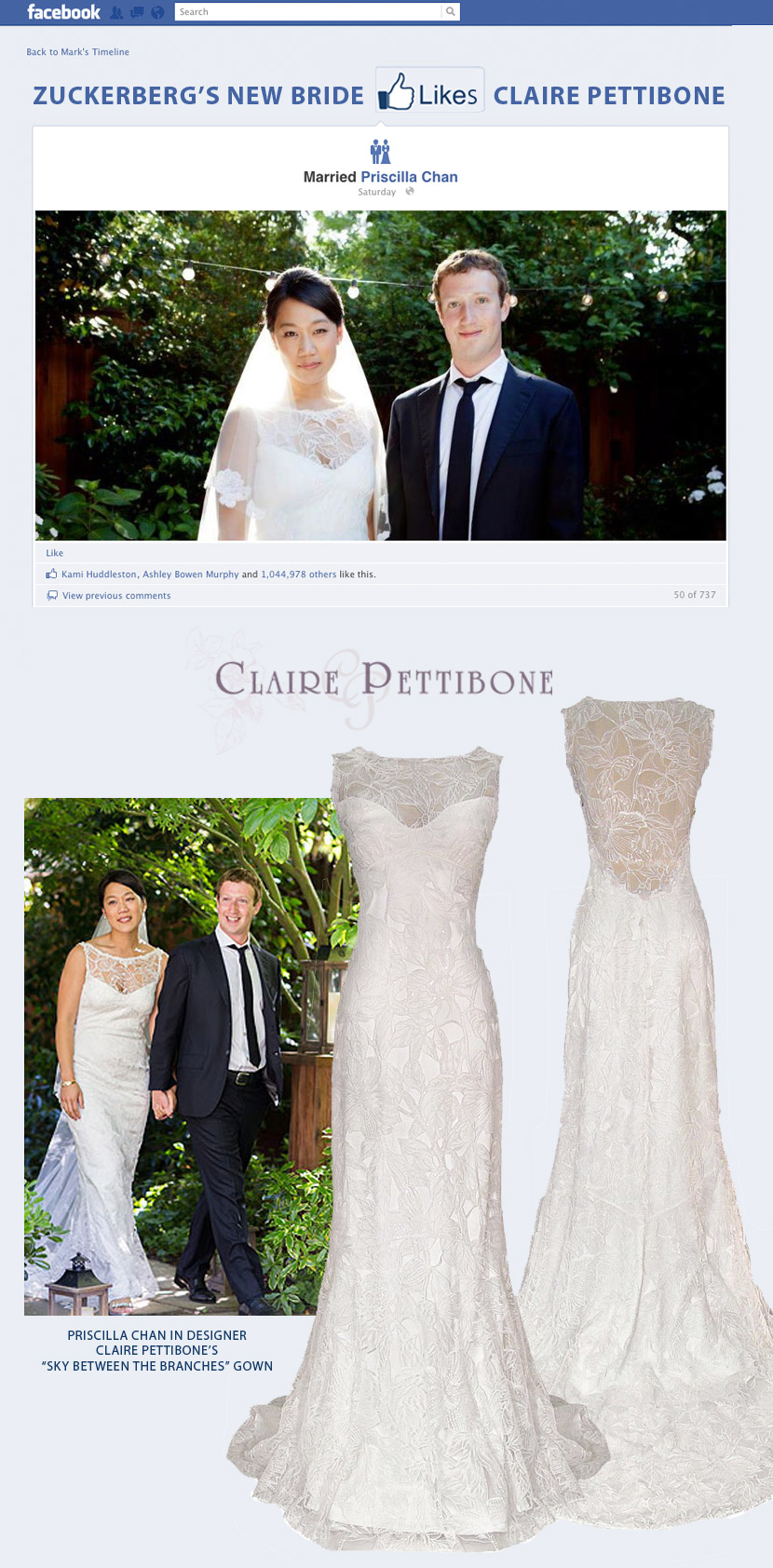 Mark Zuckerberg's new Bride Priscilla Chan wears Claire Pettibone Wedding Gown