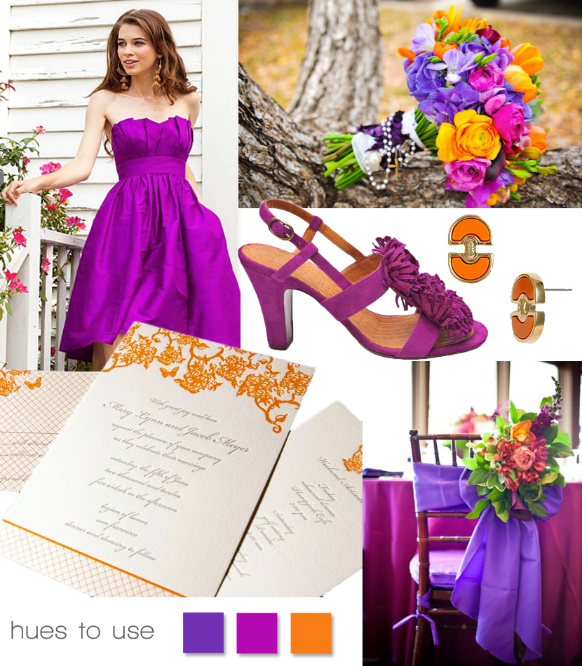 Purple, orange and fuchsia wedding inspiration