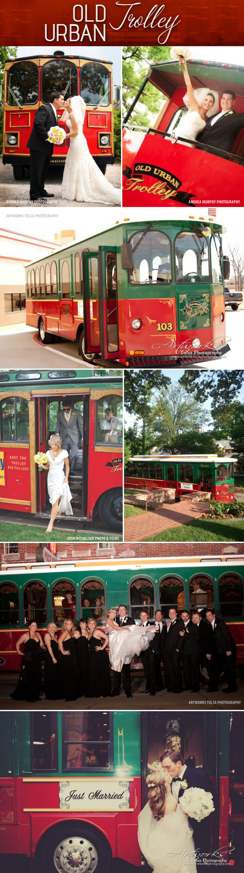 Oklahoma wedding transportation from Old Urban Trolley