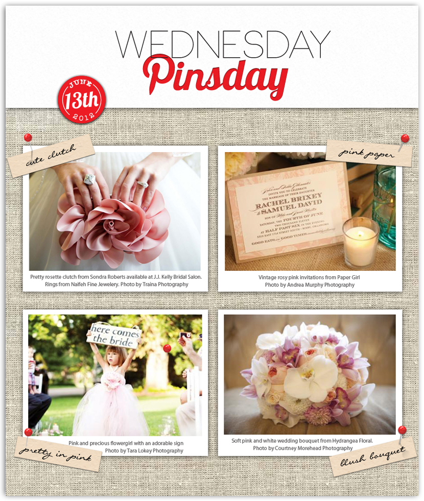 Brides of Oklahoma Wednesday Pinsday featuring light pink wedding inspiration