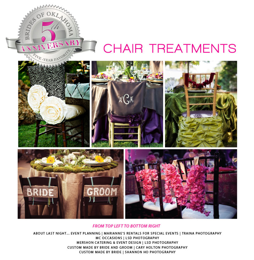 Wedding chair treatments and chair covers