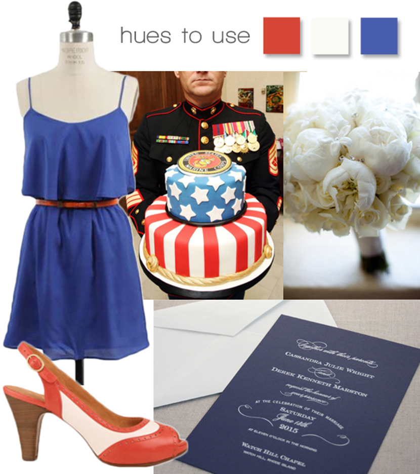 Fourth of July red, white and blue wedding inspiration