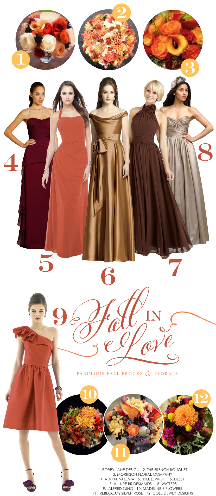 Fall in Love - Bridesmaid Dresses and Wedding Bouquets